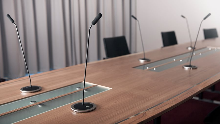 DPA microphone base on conference table